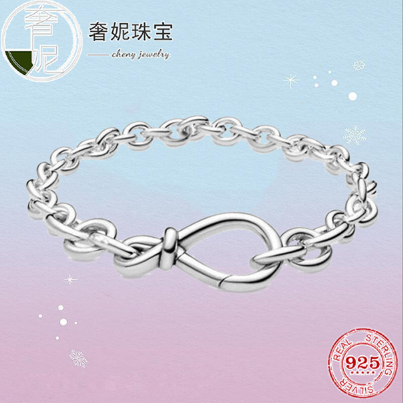 Cheny High Quality 2020 New S925 <font><b>Sterling</b></font> <font><b>Silver</b></font> Eternity Symbol Flower Knot <font><b>Bracelet</b></font> For Women Original Luxury Jewelry Gift image