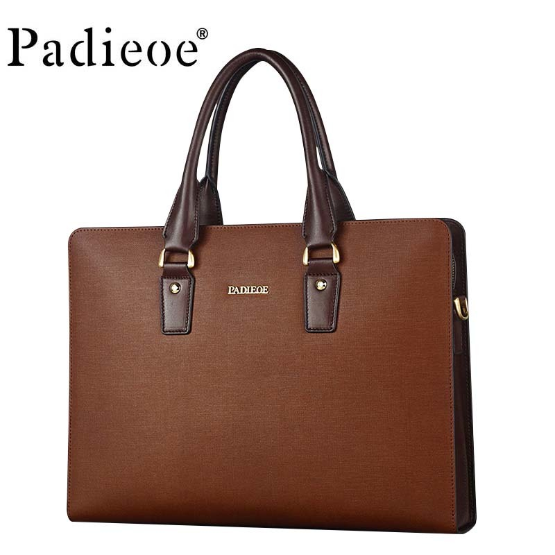 Brand Luxury Leather Briefcase Business Design Handbag High Quality Fashion Men's Messenger Bag Black And Brown 14-inch Computer