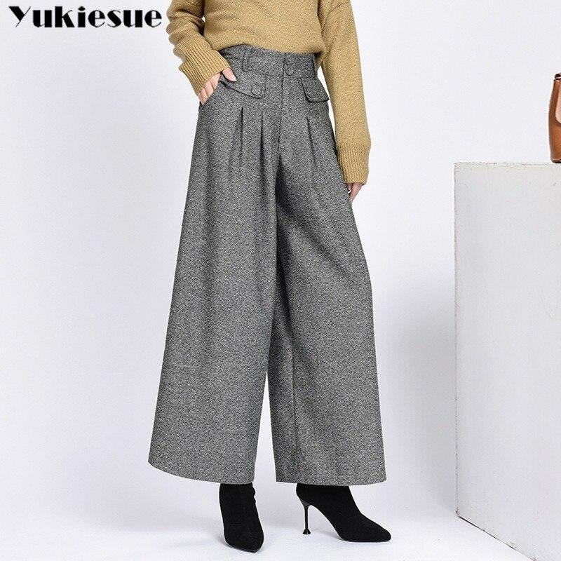 Зимние теплые шерстяные женские брюки, женские плиссированные широкие брюки с высокой талией, Капри для женщин, женские брюки большого разм...