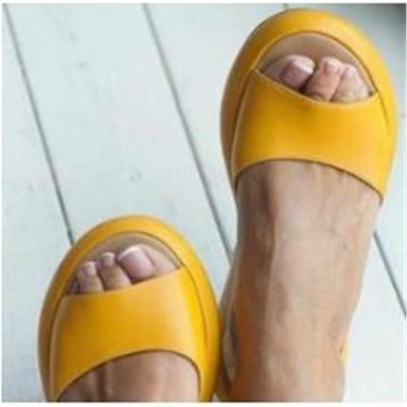DIHOPE 2020 kadın sandalet Flip flop yeni yaz moda roma Slip-On nefes kaymaz ayakkabı kadın slaytlar katı Casual kadın