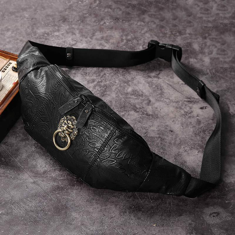 2019 New Chinese Fashion Brand Retro Male And Female Lion Head Fashion Leisure Outdoor Sports Waist Bag Fashion