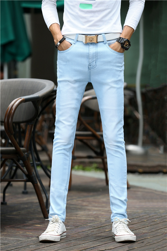 Autumn New Style Light Blue Elastic Men's Trousers Elasticity Jeans Young MEN'S Slim Fit Pencil Pants Skinny Pants
