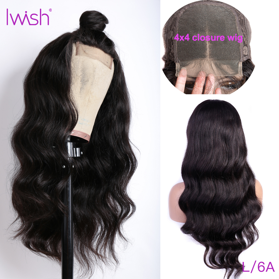 Closure Wig Body Wave Wig Human Hair Wig Pre Plucked With Baby Hair Low Ratio 150 Density Iwish Remy Hair 4*4 Lace Closure Wigs