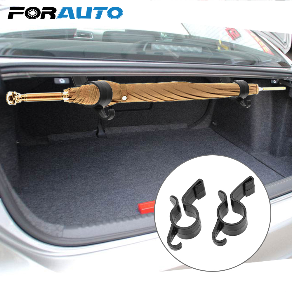 FORAUTO 2pcs Umbrella Holder Clip Hooks Auto Trunk Organizer Car Rear Trunk Mounting Bracket Towel Hook Umbrella Hanging Clamp