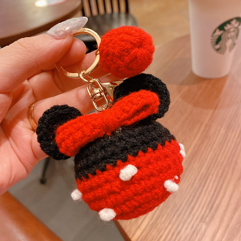 Disney Plush Toy Bag Key Chains Jewelry Women Car Bag Key Ring  Hand Knits Bowknot Mickey Mouse Pompom For Car Cute Keychain