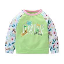 Свитер для маленьких девочек; хлопковая теплая одежда с длинными рукавами, круглым вырезом и цветочным принтом; милая свободная одежда; сезон весна-осень; одежда для отдыха