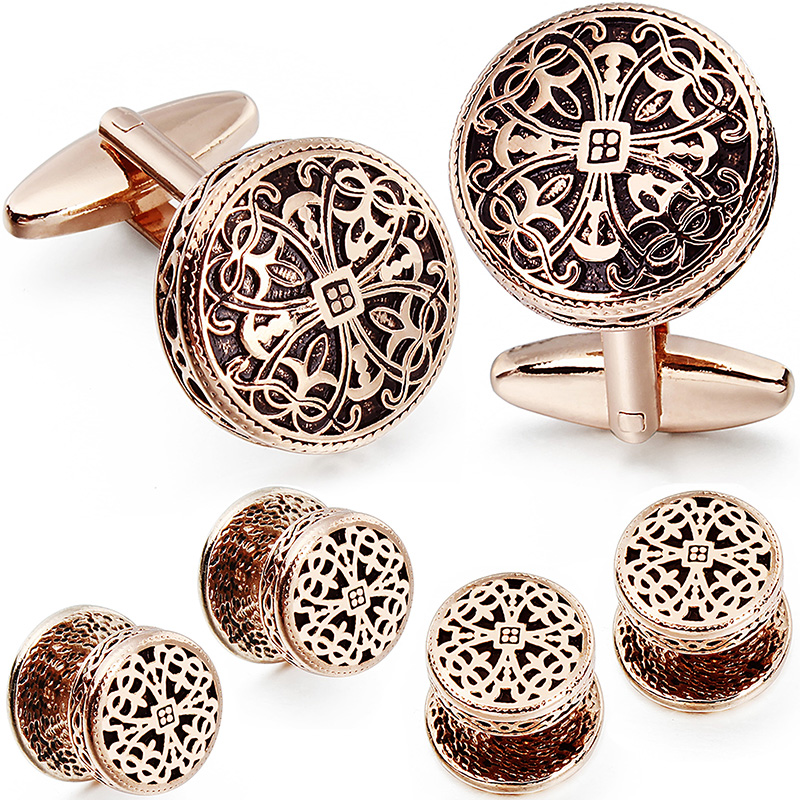 Image 2 - HAWSON Vintage Cufflinks and Tuxedo Shirt Studs for Men Retro Flower Pattern   Best Wedding Business Gifts for Men with Box-in Tie Clips & Cufflinks from Jewelry & Accessories