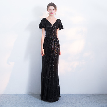 Large Size 3XL Beads Floor Length Evening Party Dress For Women V-neck Short Sleeve Maxi Dress Off Shoulder Half Sleeve Gown