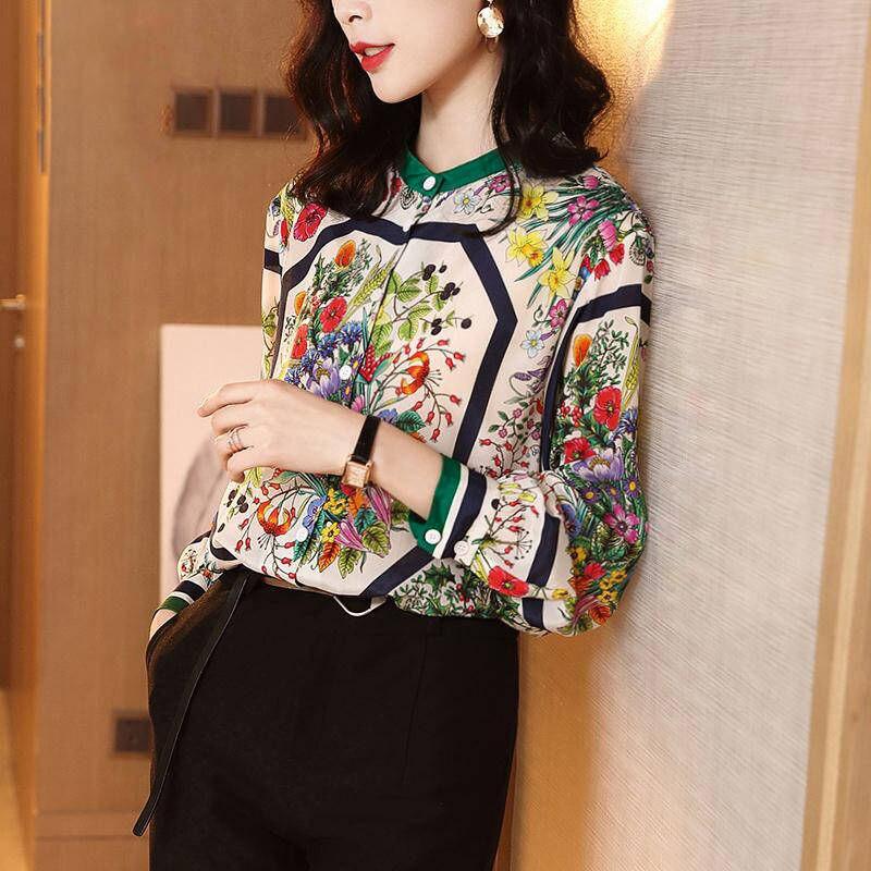 Blusa de seda mulheres trabalho vintage floral solto plus size senhoras topos elegante formal escritório camisa