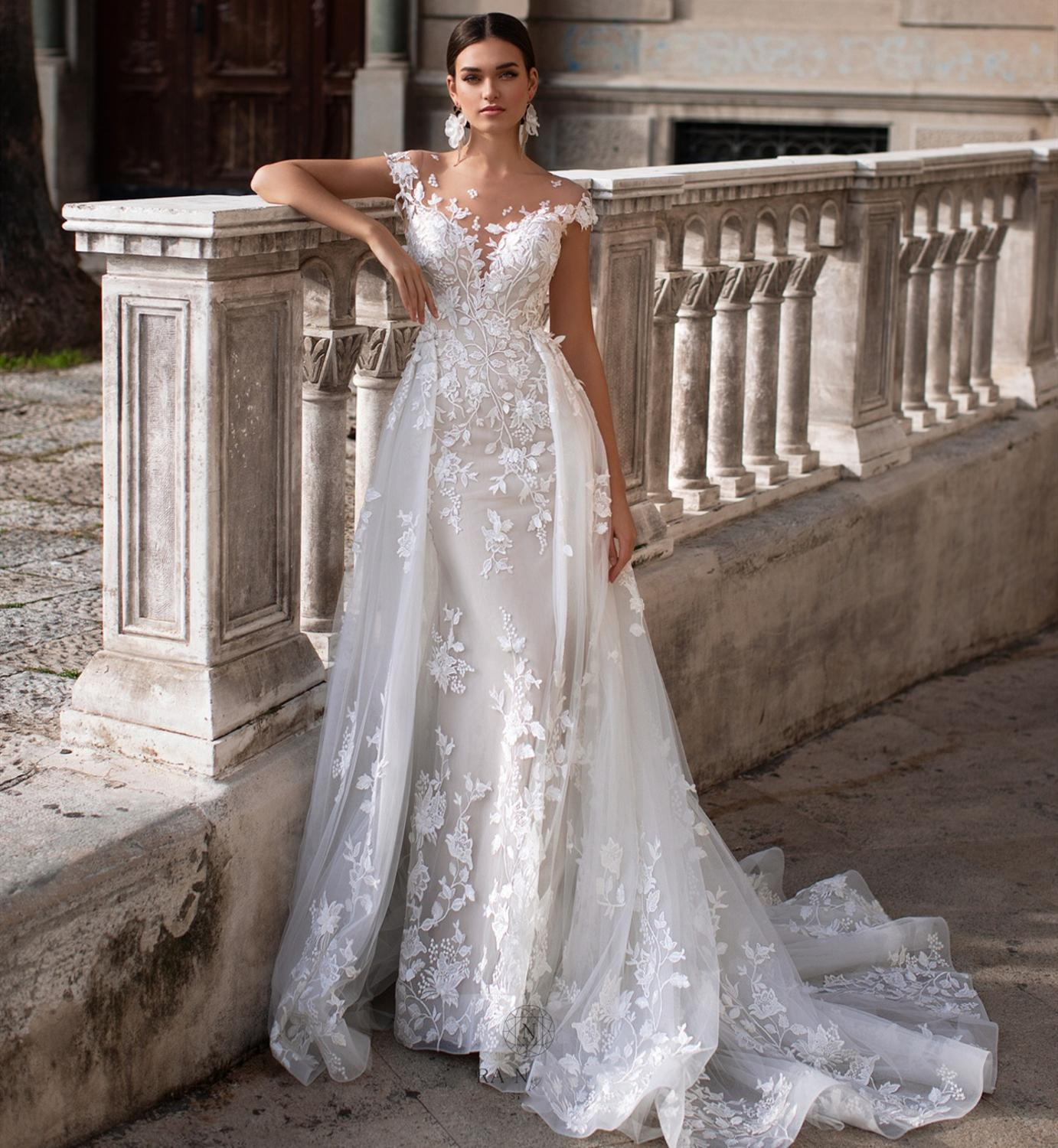 Vestido De Noiva New Overskirt Boho Wedding Dress 2020 O-Neck Chaple Train Appliques Tulle Bride Gowns Robe De Mariee