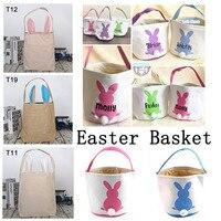 Venta al por mayor, 25 unids/lote, bonita cesta de conejito de Pascua, 40 estilos, bolsa de tela con monograma, bolsa de mano, cestas para huevos, dulces, decoración de Fiesta de Pascua