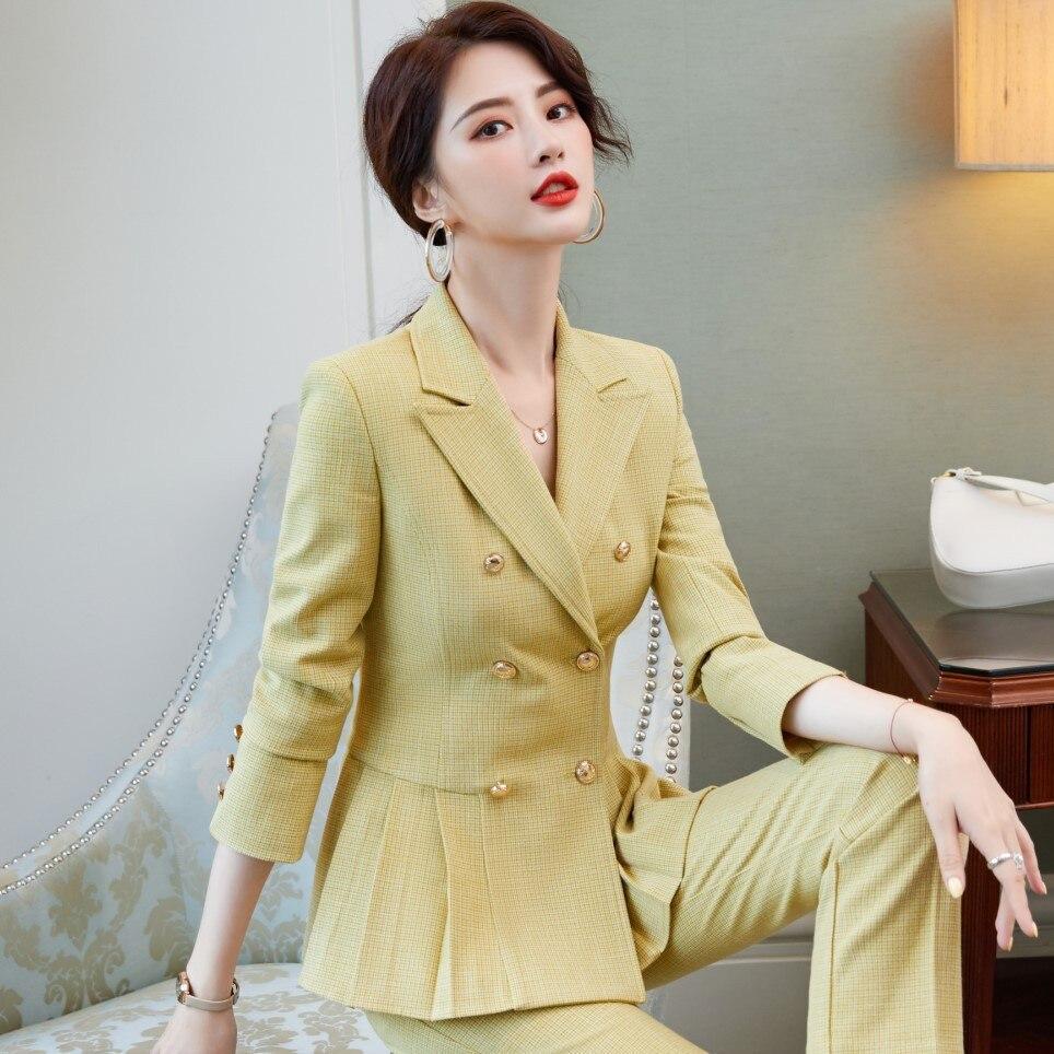 Plus size women's clothing S-4XL Professional Office Female Blazer New autumn fashion work clothes jacket elegant pants
