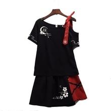 المرأة اليابانية نمط تي شيرت تنورة مجموعة لطيف تيشرت أسود قصير الأكمام ساكورا المطرزة واحدة الكتف قبالة الزي