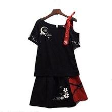 Damski styl japoński T Shirt zestaw spódnic śliczny czarny krótki rękaw Sakura Emboridered pojedynczy strój na ramię