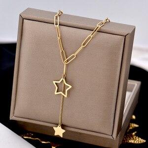 Длинное ожерелье из нержавеющей стали, ювелирные изделия, аксессуары, буквы, модные ожерелья и подвески для женщин, женский золотой шейный п...