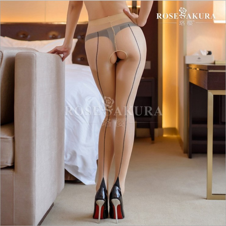 20D Womens Vintage Cuban Back Line Heel Seamed Open Crotch High Waist Pantyhose Crotchless Leggings Sexy Lingerie