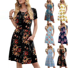 New Women's Spring Summer O-Neck Pocket Dress Fashion Casual Plus Size Printed Short-Sleeved Dress