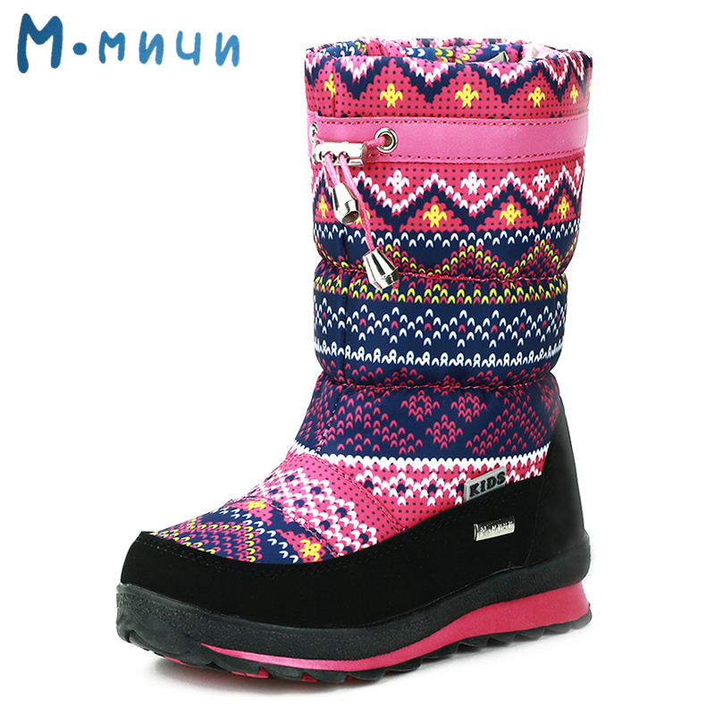 MMNUN 2018 Winter Boots Girls Anti slip Winter Children Shoes Girls Boots Warm Shoes Girls Kids Boots Size 26 36 ML9615