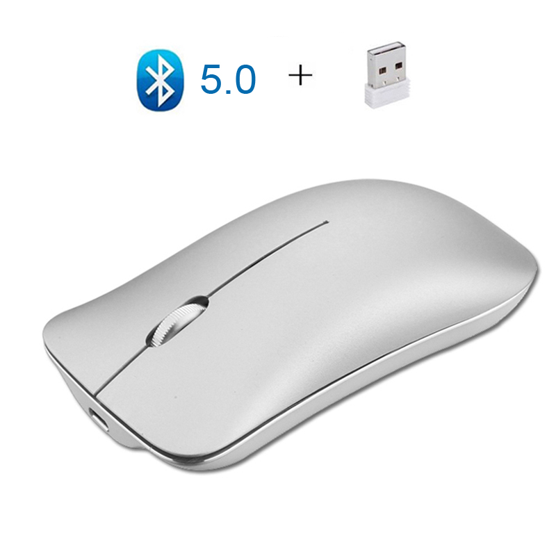 Do Dower Dual Mode Aluminum Alloy Wireless 2.4G+Bluetooth 4.0 Mouse Ultra-thin Recharge Portable High Class Optical Mice For Mac