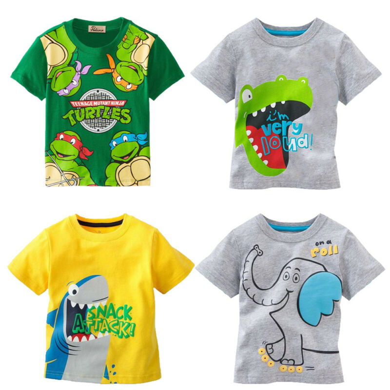 Pudcoco New Baby Fashion Toddler Baby Kids Boys Cartoon Animal Print Cotton Tops T-shirt Clothes Outfits