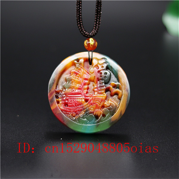 Natural Color Hetian Jade Stone Sailboat Pendant Necklace Chinese Jadeite Jewelry Fashion Charm Carved Amulet Gifts For Women