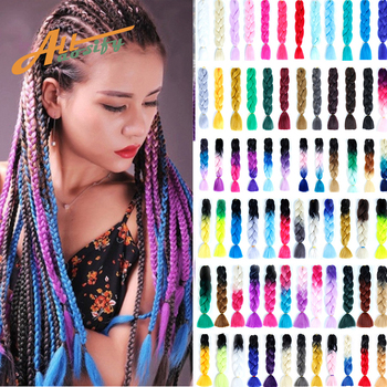 цена на Allaosify Synthetic Hair Extensions Ombre  Braiding Hair One Piece 100g/Pack 24Inch Afro Bulk Hair Jumbo Crotchet Braids Ombre