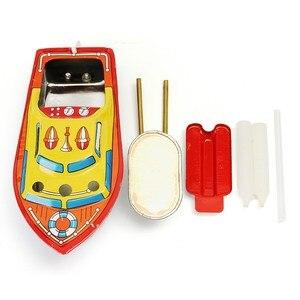 Bote de hierro de hojalata con vela de vapor para niños, juguete de piscina de agua europea, bote flotante POP, regalo de cumpleaños, 1 ud.