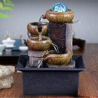 Indoor Desktop Home Decor LED Fountain Resin Crafts Desktop Water Fountain Mini Waterfall Gift
