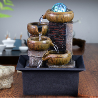 Indoor Desktop Home Decor LED Fountain Resin Crafts Desktop Water Fountain Mini Waterfall Gift