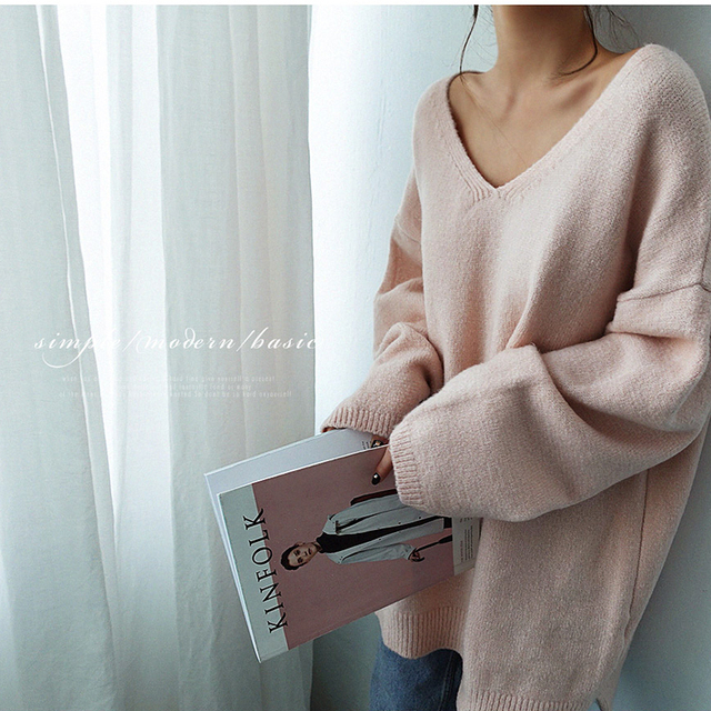 Ailegogo Women V-neck Sweater Loose Fit Autumn Winter Warm Casual Knitted Tops Female Long Solid Color Knit Pullovers 5