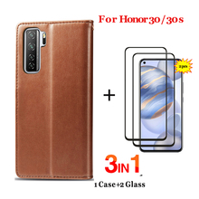 Leather Flip Case For Huawei honor 30 Wallet case+tempered glass honor-30 30s screen protector cover cases huawei s