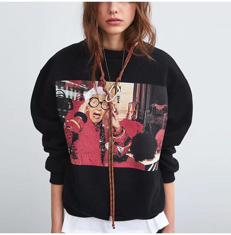 Streetwear Character Black Women Sweatshirt Autumn 2019 O Neck Long Sleeve Pullover Oversized Hoodie Casual Sweatshirts