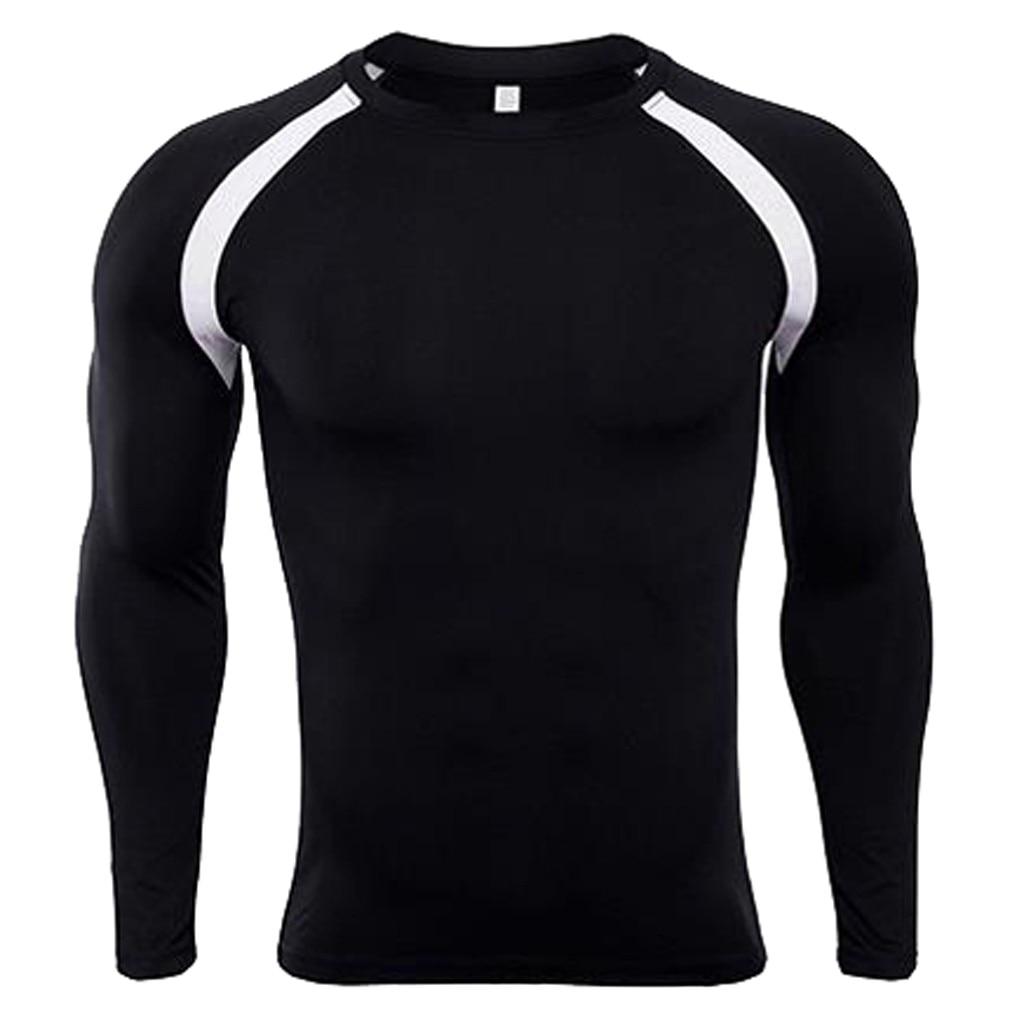 CYSINCOS Mens Slim Fitness Rashguard Bodybuilding Skin Tight-drying Tight Thermal Compression Quick-drying Long-sleeved Shirt