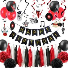Rock n Roll Party Decorations Set Music Hanging Swirl Paper Flowers Tassel Garland Latex Balloons