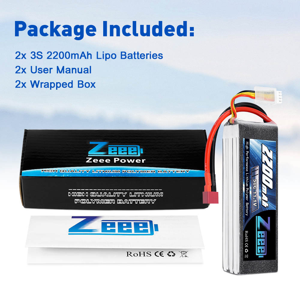 Купить с кэшбэком 2units Zeee LiPo Battery 11.1V 3S 2200mAh 50C for RC Car with Deans Plug For RC Helicopter Drone Boat Airplane