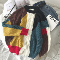 Winter New Sweater Men Warm Fashion Contrast Color Casual O-neck Knit Pullover Man Loose Long-sleeved Sweater Male Clothes