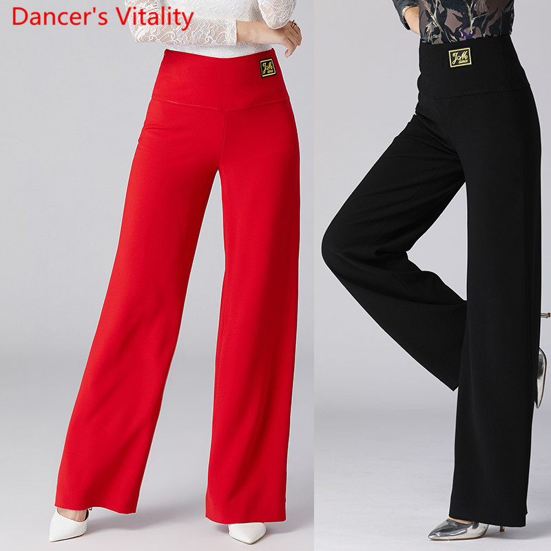 Modern Dance Wear Women New Latin Ballroom National Standard Dancing Loose Pants Black Trousers Competition Training Clothes