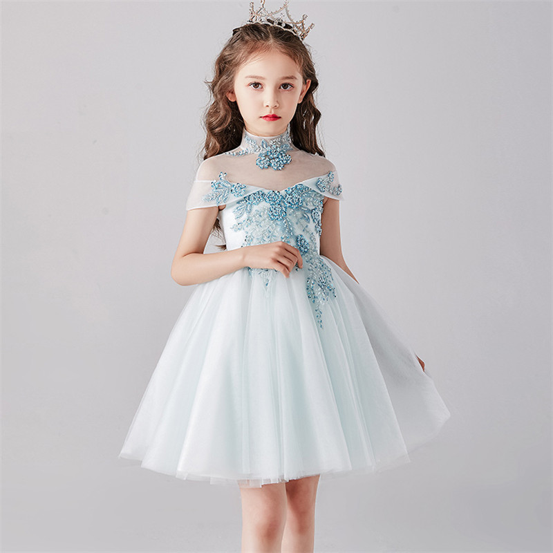 3~12T Children Girls Hand-made Beading Design Birthday Holiday Party Princess Fluffy Dress Kids Teens Formal Wear Short Dress 1