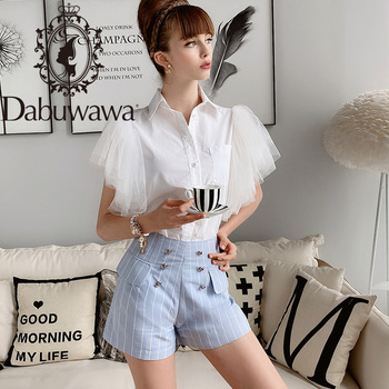 Dabuwawa Blue Vertical Striped Pocket Front Shorts Women Summer High Waist Slim Fit Casual A-Line Female D18BSP006