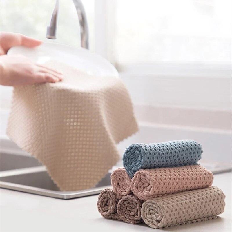 1/5 pces anti-graxa limpando trapos cozinha absorvente eficiente microfibra pano de limpeza casa lavar prato toalha de limpeza de cozinha
