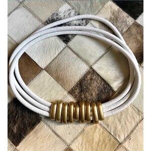 Image 5 - Cosmicchic 2020 אופנה אלגנטית מתכת Becoration עור חגורה גבוהה רחוב פראי רב שכבתי קו ססגוניות Cowskin חגורה