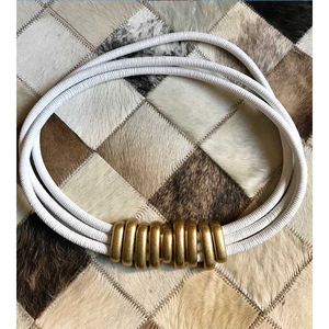 Image 5 - Cosmicchic 2020 mode élégant métal Becoration cuir ceinture haute rue sauvage multicouche ligne multicolore peau de vache ceinture