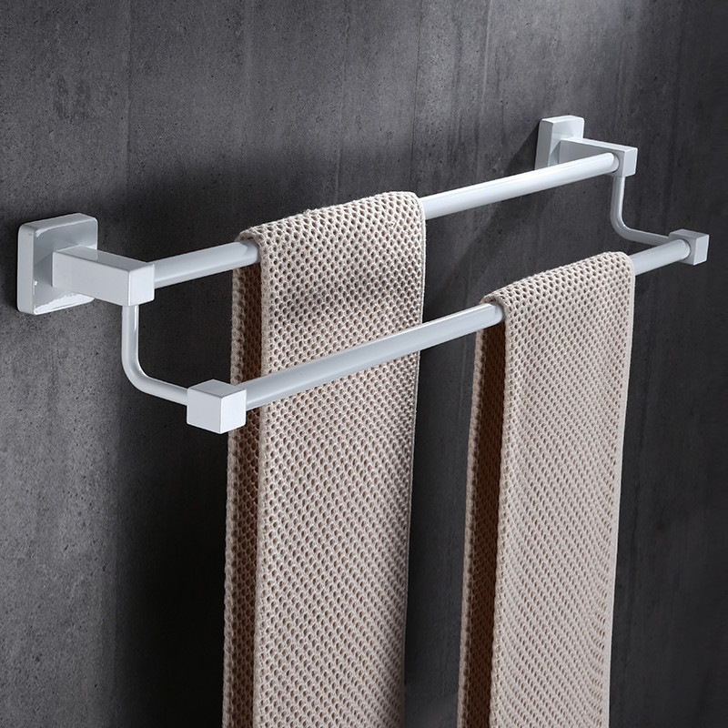304 Stainless Steel Bathroom DoubleTowel Bars Wall Mounted Bath Hardware Bathroom Accessories 40-60cm Black/White Free Shipping