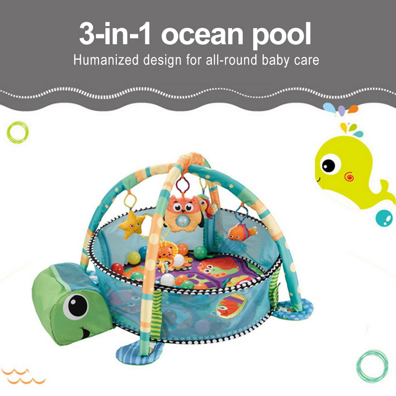Oeak Infant Multi-functional Marine Ball Pool Fitness Rack Kid Marine Ball Fence Game Blanket Childs Saft Activity Game Pool