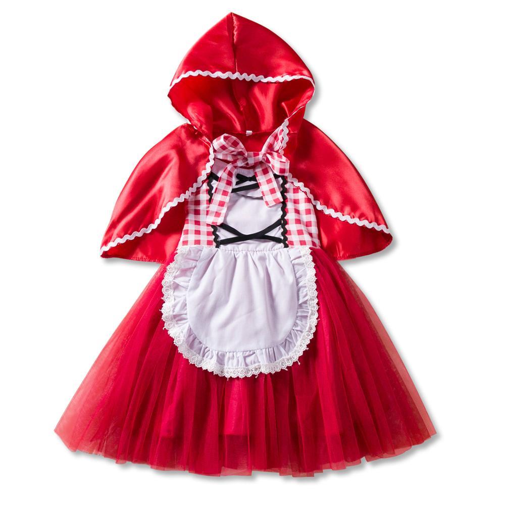 2019 bebê menina vestido de princesa pouco vermelho equitação capa vestido + manto neve branco festa aniversário natal vestido traje do dia das bruxas