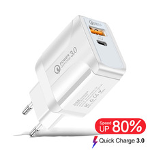 Usb-Charger Eu-Wall-Mobile-Phone-Charger-Adapter QC3.0 Xiaomi Samsung iPhone X 18W