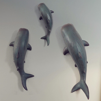 Creative 3D Shark Wall Decoration Resin Crafts Decor Wall Ornament Retro Animal Wall Hanging Mural Accessories R2775