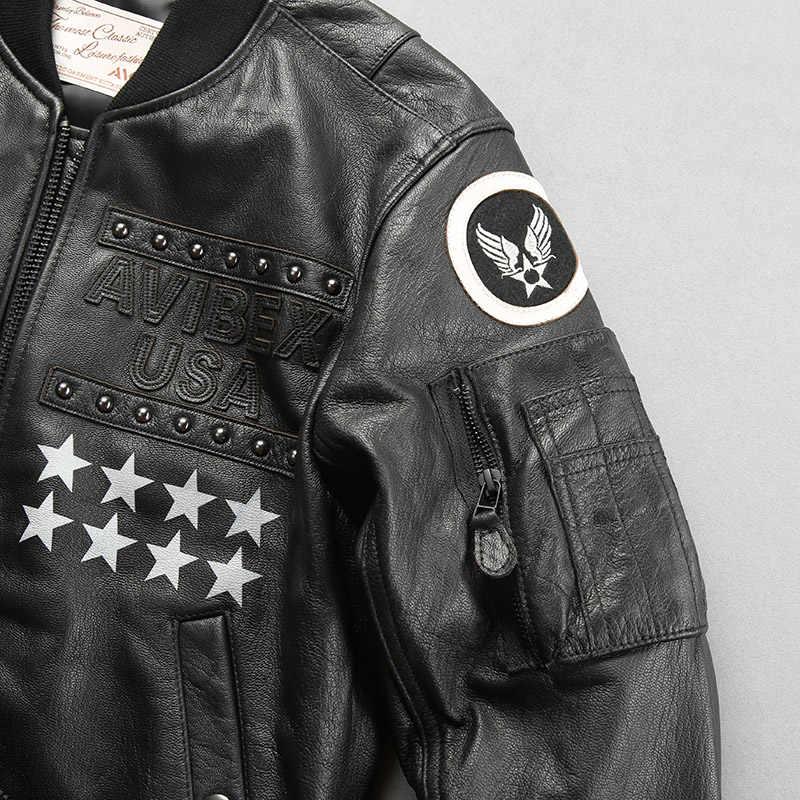 Oryginalna 2020 moda męska czarna kożuch lot Slim Fit męska kurtka baseballowa prawdziwa skórzana kurtka Bomber