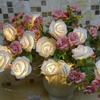 Guirnalda de luces Led con forma de flor rosa para Navidad, Led...