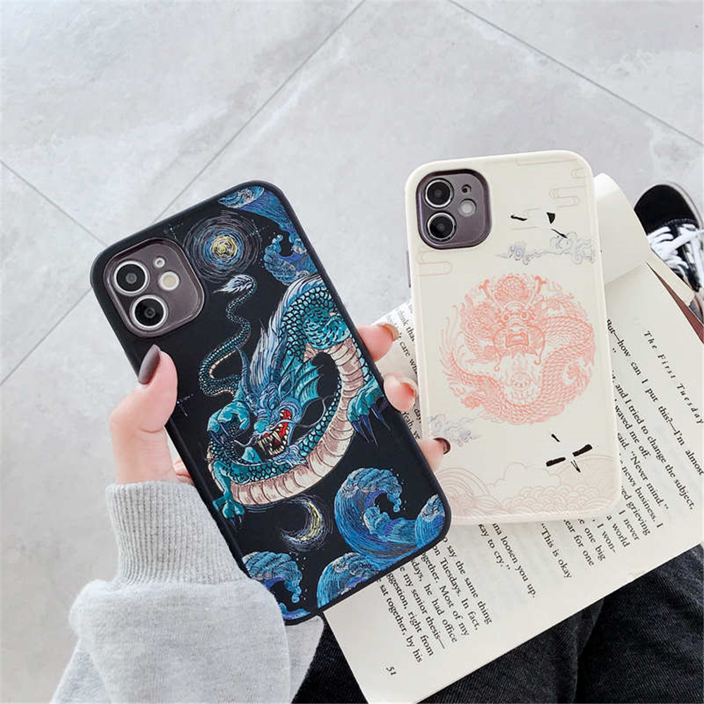 3D Animal Dragon Totem Relief Lens Soft Phone Case For Iphone 12 Pro Max 12 Mini 11 Pro MAX X XS XR 7 8 Plus SE 2020 Cover